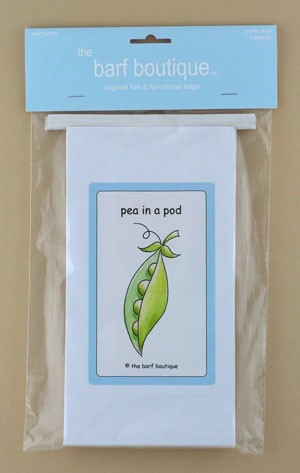 "Blue ""Pea in a Pod"" Barf Bag (5/pk)"